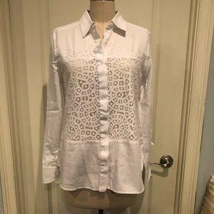 BCBG Lace Inset Button Front Shirt